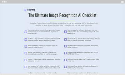 ultimate image recognition AI checklist